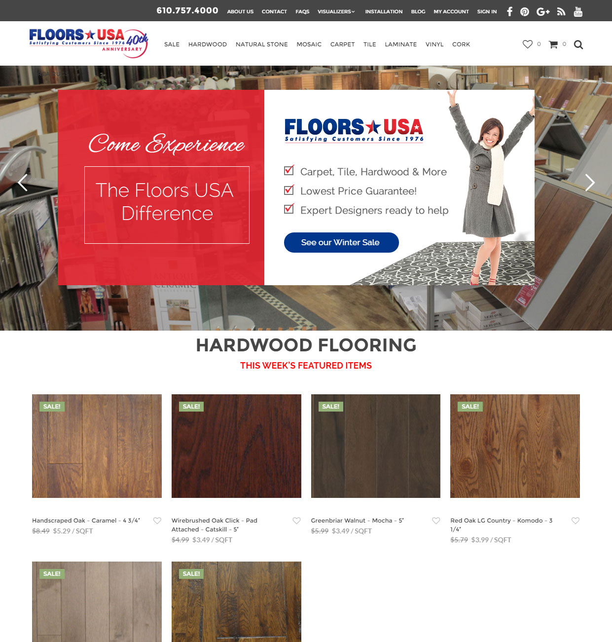 Custom ecommerce wordpress site for flooring store in philadelphia